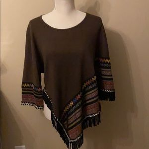 ADORE asymmetrical fringed sweater/pancho, M